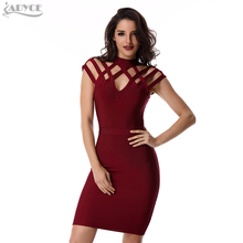 ADYCE Summer Runway Dress Women Evening Bandage Dress 2017 Wine Red Grid cut out short sleeve mini Sexy Celebrity Party Dresses