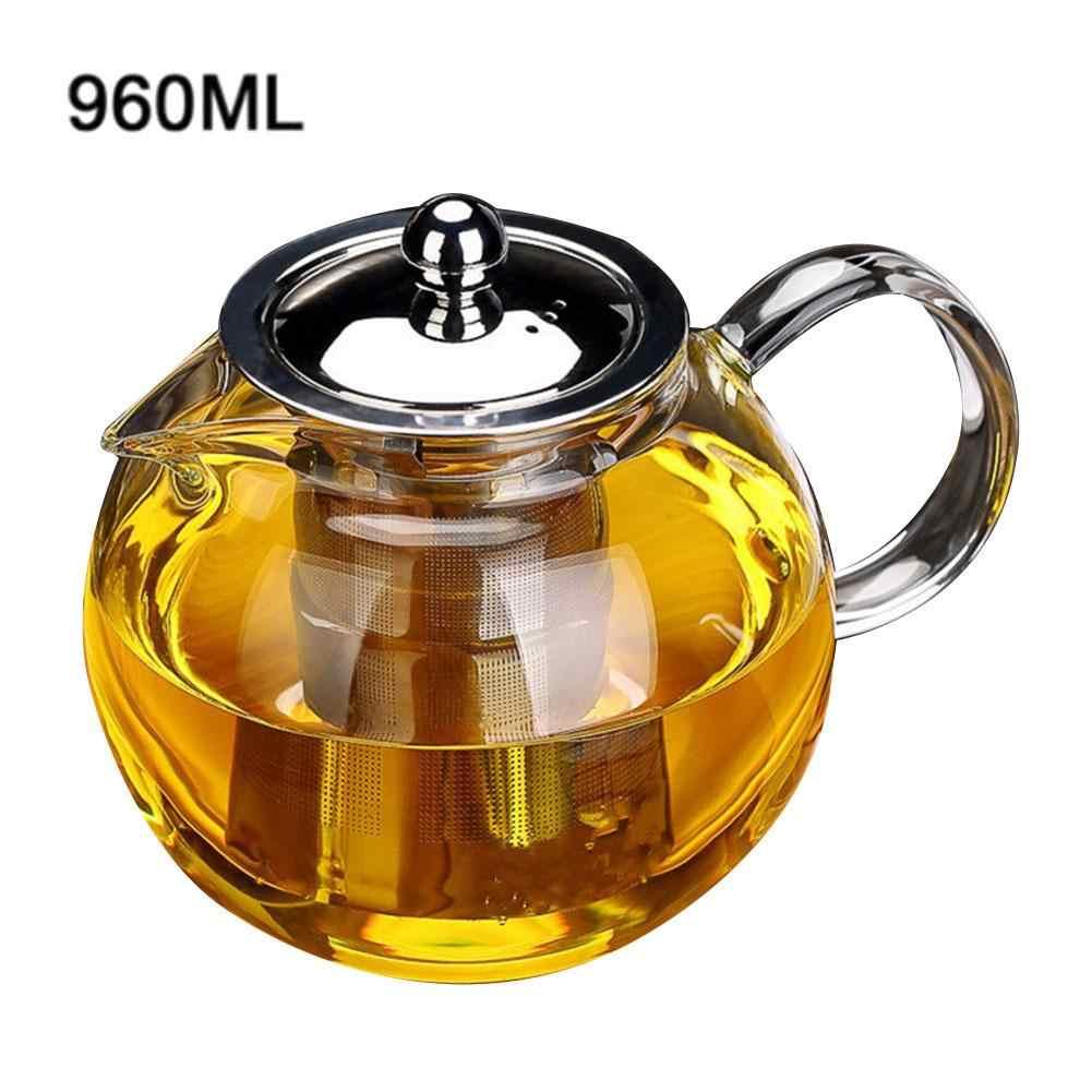 650ml 960ml 1300ml Heat Resistant Glass Teapot Flower Tea Set Kettle Coffee Tea Pot Drinkware Set Stainless Steel Strainer
