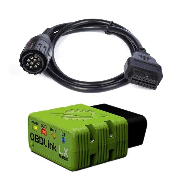 OBDLink Herramienta de codificación para vehículo, dispositivo LX con bluetooth, OBD2, BIMMER, 10 pines, con cable, para BMW, motocicleta, MOTOSCAN Plus