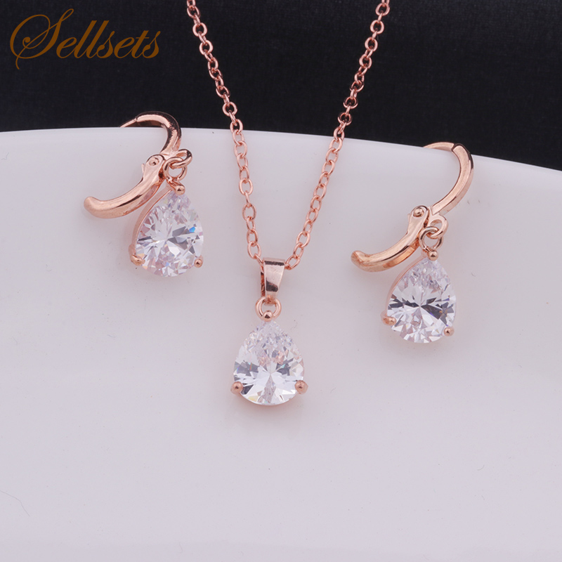 Sellsets Classic  gold & white color smaller waterdrop crystal bridal jewelry set necklace earring sets for women