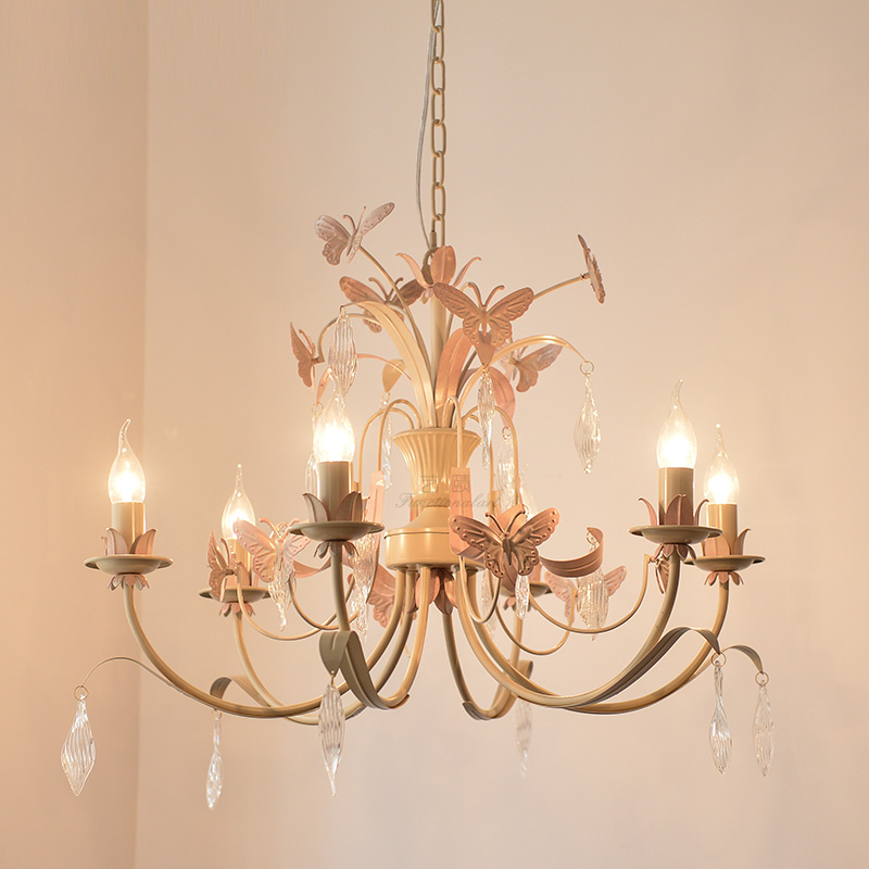 Nordic chandeliers ceiling wrought iron butterfly pink chandelier lighting princess girl bedroom restaurant light candle lamps