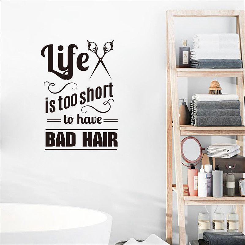 Hair salon wall stickers creative slogan decoration vinyl applique sticker art mural  MF011