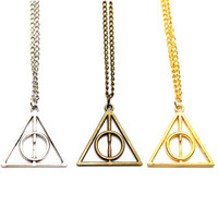 100pcs Hot Sale Movie Deathly Hallows Triangle Metal Pendant long Chain Necklace as Gifts free shipping