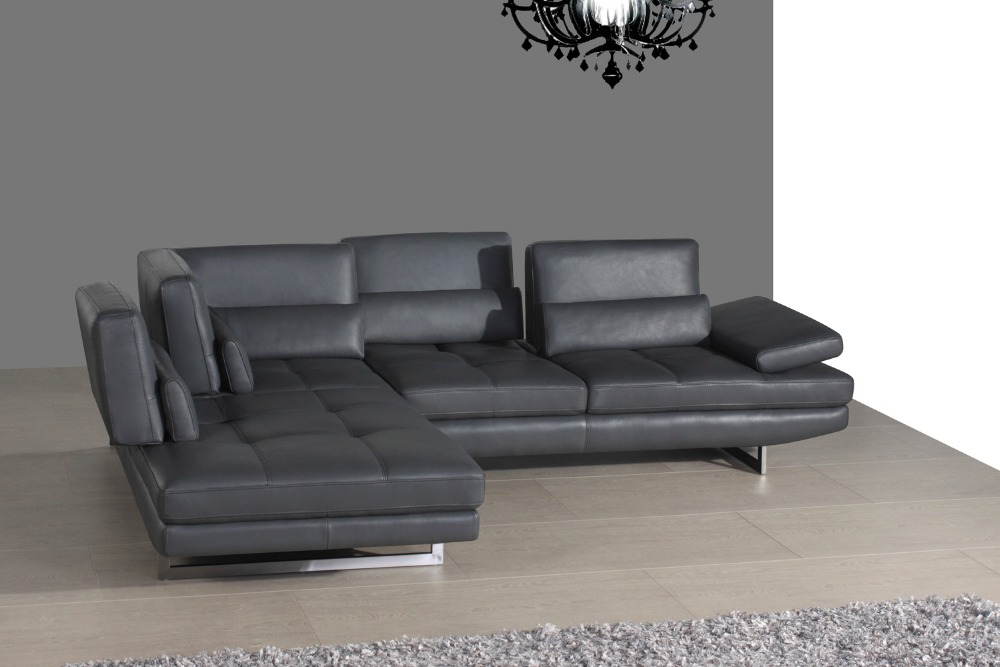 real leather sofa sectional living room sofa corner home furniture couch L shape functional headrest modern stainless steel legs free shipping european style living room furniture top grain leather l shaped corner sectional sofa set orange leather sofa
