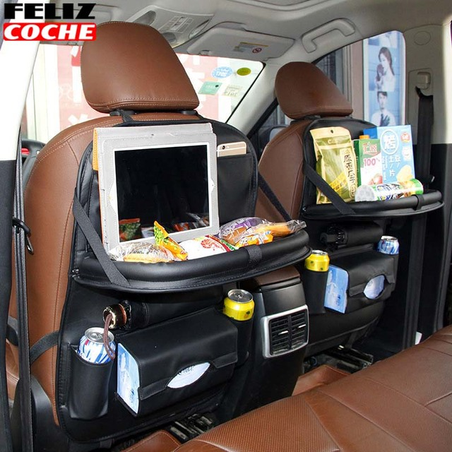 Car Seat Back Automobile Bag Storage For Folding Cart Table PU Leather Multifunctional