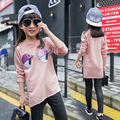Lovely Pink Hoodies Girls Fashion O-Neck Long Sleeves Long Sweatshirts Children Cotton Eyes Cartoon Clothing Spring/Autumn Coat
