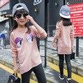 Lovely Pink Hoodies de Las Muchachas de Moda Del O-cuello Largo de la Manga Larga Sudaderas Niños Ropa de Algodón de Dibujos Animados Ojos Abrigo de Primavera/Otoño