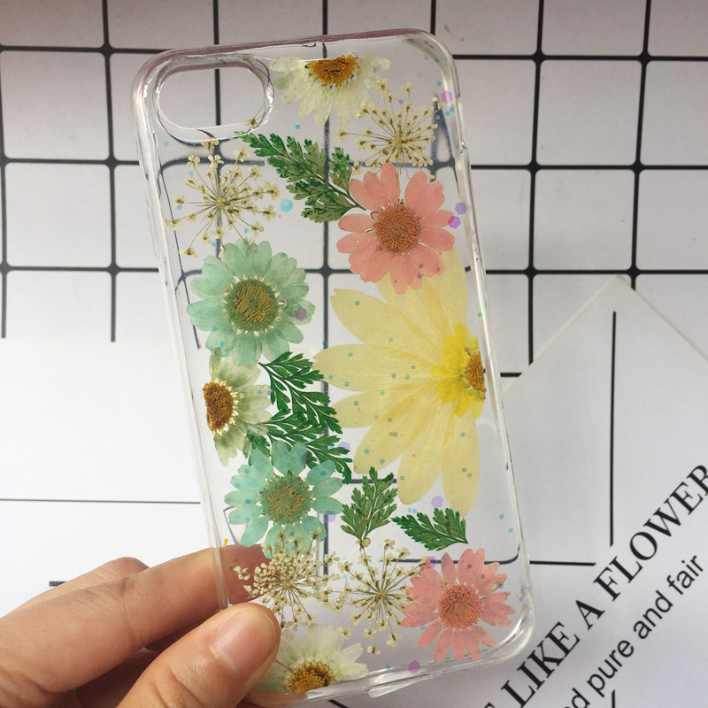 2018 New For iphone X Case Beautiful Real Pressed Flower Phone Case For iPhone 6 6S Plus 7 8 Floral Transparent Clear Phone Case (9)