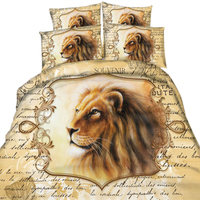 Lion Print 3D Bedding Sets Full Duvet Cover Sets Twin/Full/Queen/King Size,100% Cotton 3/4 Pieces No Comforter Christmas Gift