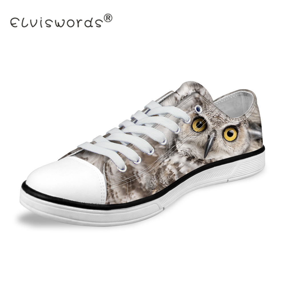 ELVISWORDS Spring Low-top Owl Animal Print Canvas Shoes Women Lace-Up Flat Shoes Casual Female Students Mesh Flat Floor Shoes