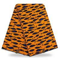 Moda Niebieski małe ryby druku bardzo tkaniny woskiem, pomarańczowy Afryki super wosk wydruku odzież tkaniny! qd-8