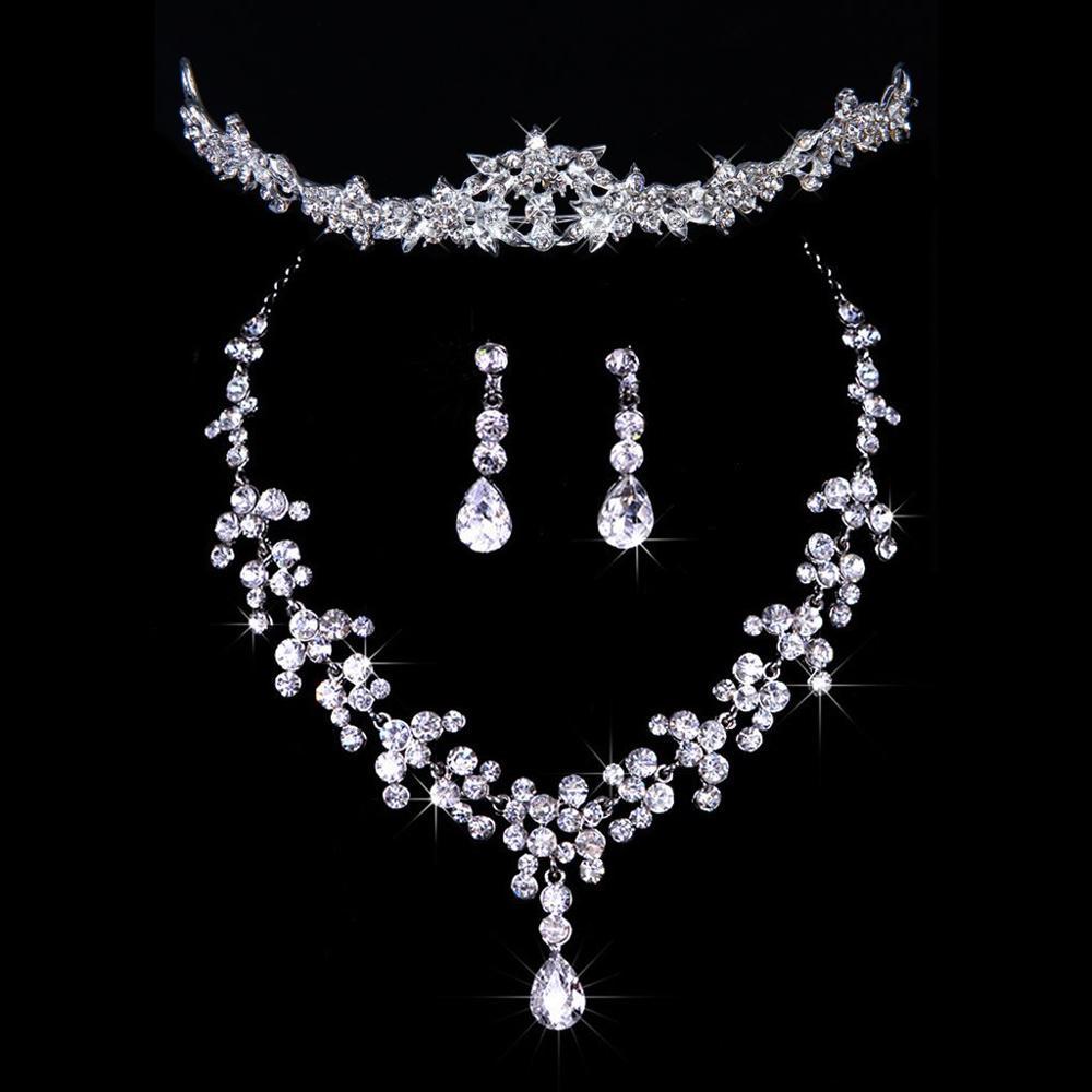 Six Color Bridal Rhinestone Raindrop Hair Tiara Veil Headband Prom Wedding Crown