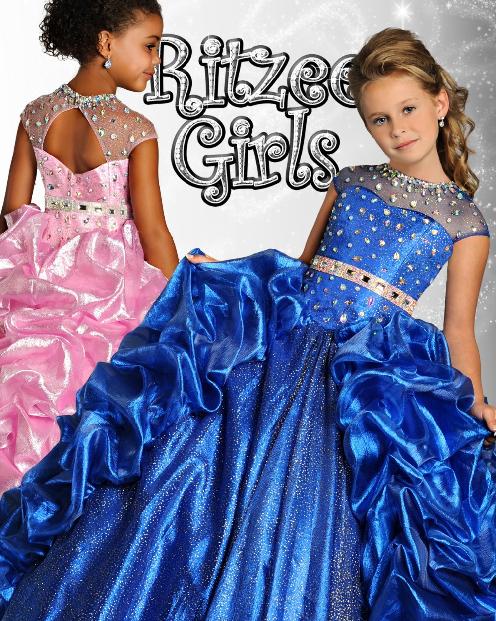 Stunning Kids Pageant Dresses Rhinestone Beaded Glitz Organza Ruffles Sheer Open Back Ball Gowns Pick-ups for Little Flower Girl hot newest fuchsia ball gown organza ruffles flower girl dresses kids pageant dresses vestidos de desfile kids party dresses