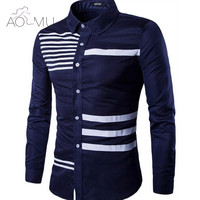AOMU New Autumn Fashion Brand Men Clothes Slim Fit Men Long Sleeve Shirt Men Stripe Printed