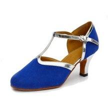 New Free Shipping Blue Suede Closed Toe Dance Shoe Ballroom Salsa Latin Waltz Tango Bachata Dancing