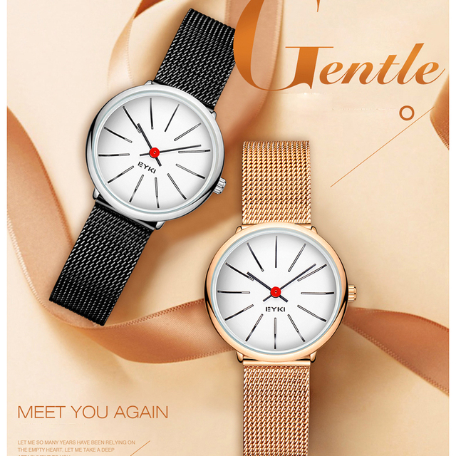 Women Classic Simple Milanese Stainless Steel Dress Quartz Watch