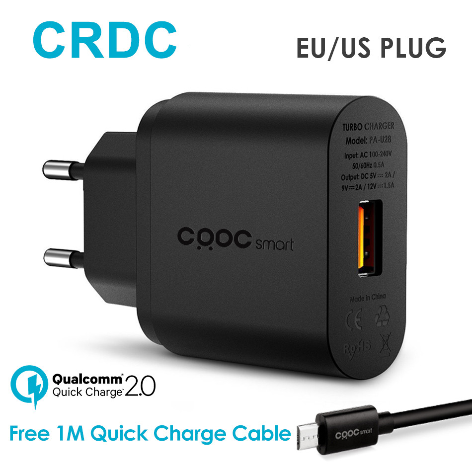 CRDC Quick Charge 2.0 USB Charger for Phone Universal Travel