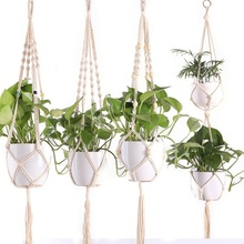 Vintage Hemp Rope New Braided Hanger Pot Green Plant Flower Pot Hanging Rope Basket Hand Weave Hemp Rope