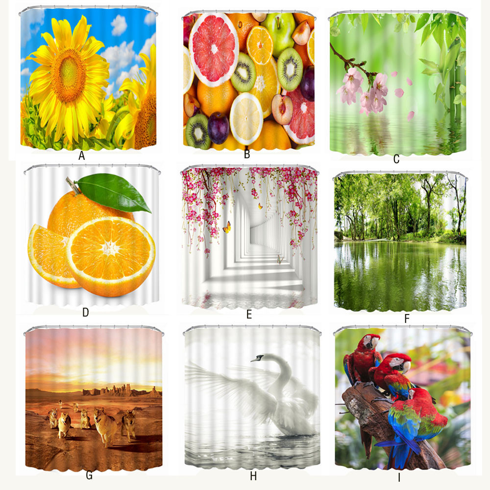 new designed fashional popular hottest new 3D printing beautiful branded waterproof personality fabric bathroom shower curtain ...