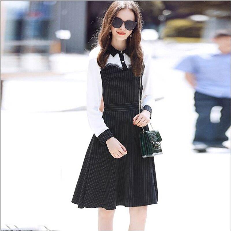 Vêtements pour femmes OL revers dentelle rayure patchwork robe Sexy femmes genou longueur robe pure femmes robe bureau dame blouse robe