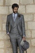 New Design One Button Grey Groom Tuxedos Groomsmen Men's Wedding Prom Suits Bridegroom (Jacket+Pants+Vest+Tie) K:876