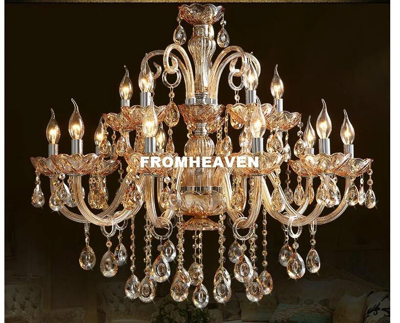 free shipping crystal chandelier light luxury modern glass chandelier lighting amber golden crystal k9 home decora hanging lamp