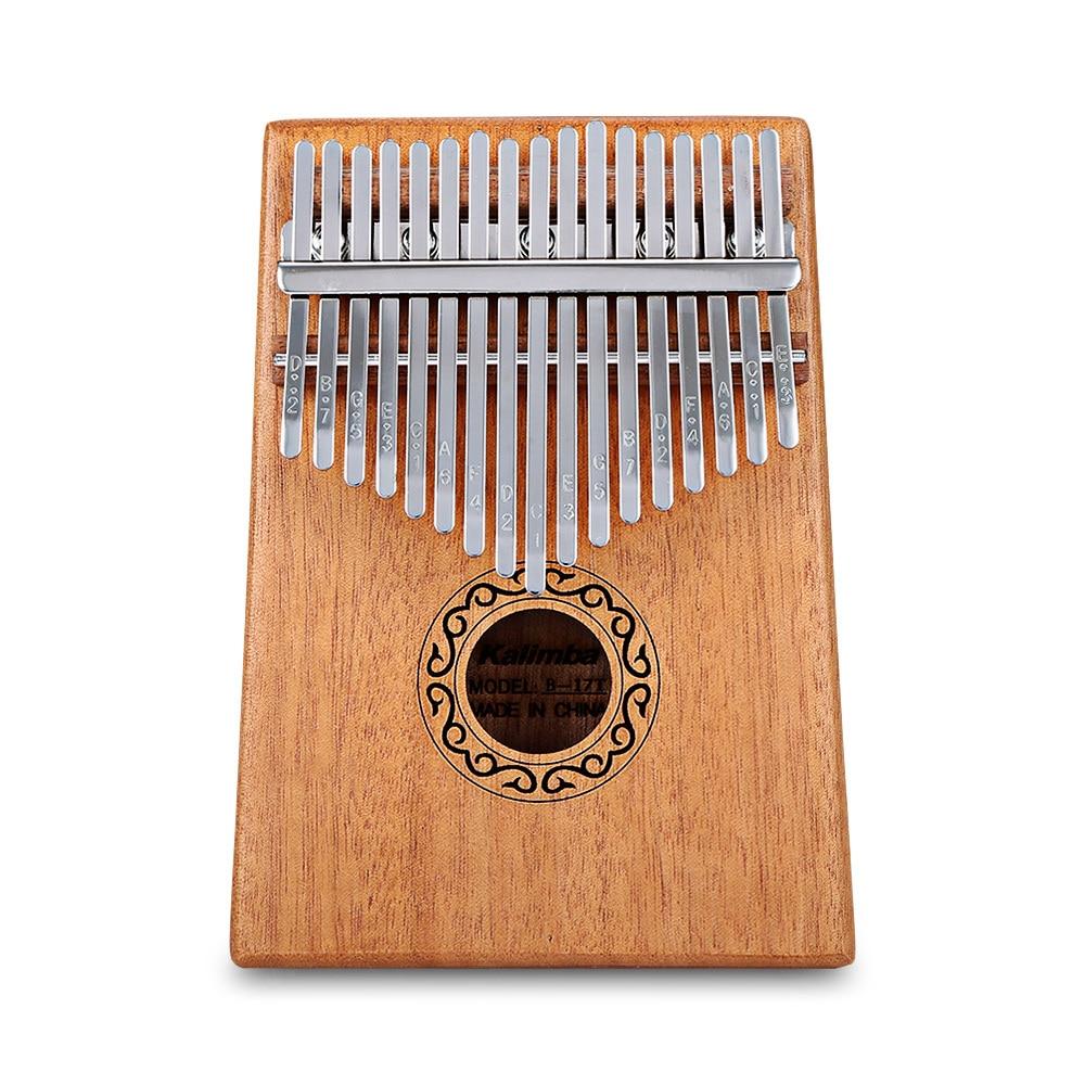 Portable B 17 T 17 Key Kalimba Thumb Piano Mahagoni Body Musical Instrument Massive Wood Kalimba Mbira Thumb Paino in Piano from Sports Entertainment