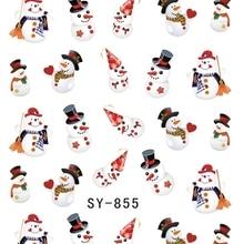 Блестящая водная наклейка для ногтей, наклейки для ногтей на Рождество, Рождество, Санта-Клаус, олень, SY855-860