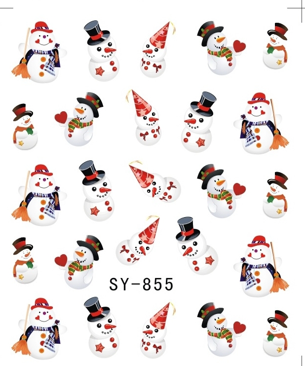 Блестящая водная наклейка для ногтей, наклейки для ногтей на Рождество, Рождество, Санта Клаус, олень, SY855 860-in Стикеры и наклейки from Красота и здоровье on AliExpress