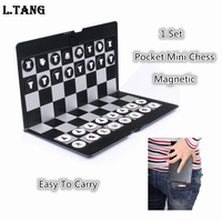 Mini Chess Board Magnetic Portable Checkers Set Traveler Plane Easy To Carry Family Game L347