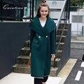 Qunitina 2017 Новая Мода Пальто Для Женщин Широкий Талией Длинные Стиль Полный Рукавом Осень Пальто Женщин