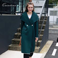 Qunitina 2017 New Fashion Trench Coat For Women Wide-Waisted Long Style Full Sleeve Autumn Coat Women