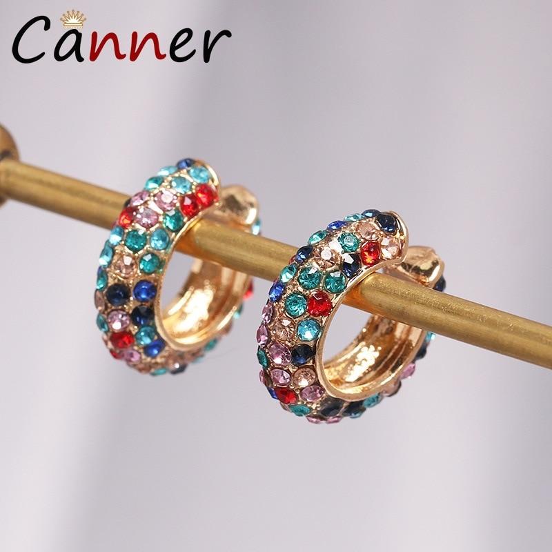 CANNER Luxury Clip Earrings Without Piercing Hoop Ear Cuff Rhinestone Gold Cuffs for Women FI