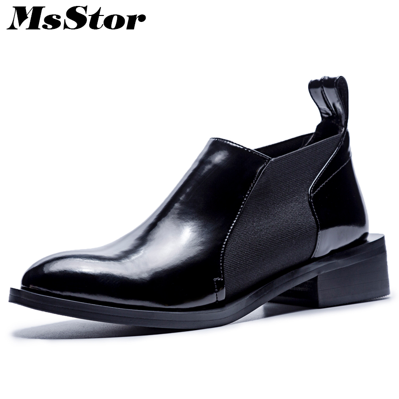 MsStor Round Toe Med Heel Boots Shoes Woman Casual Fashion Elastic band Ankle Boots Women Shoes Genuine Leather Boots Women elastic band women genuine leather ankle boots chelsea hand made shoes motorcycle coincise fashion black matte women s boots