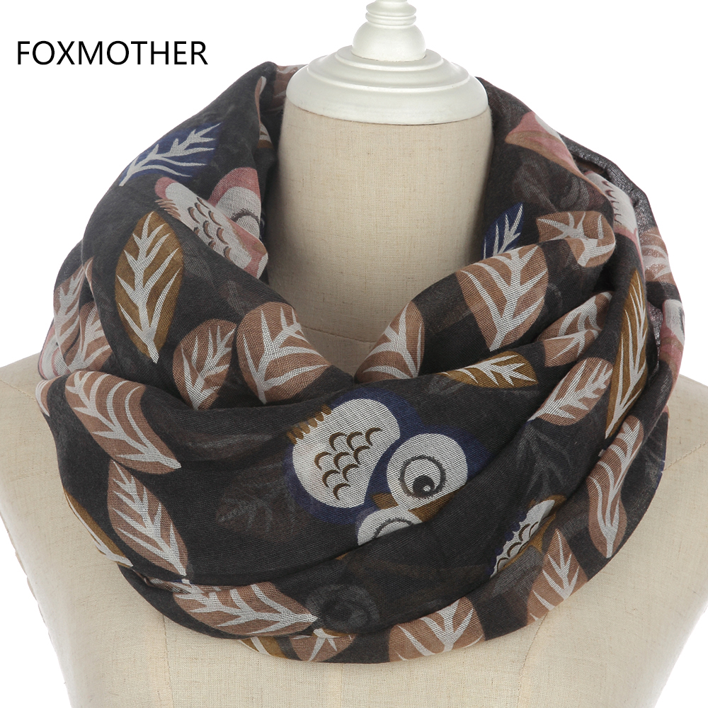 FOXMOTHER 2018 New Ladies Winter Fashion Black Coffee Owl On Branches Ring   Scarf     Wrap   Loop   Scarves   Womens Female
