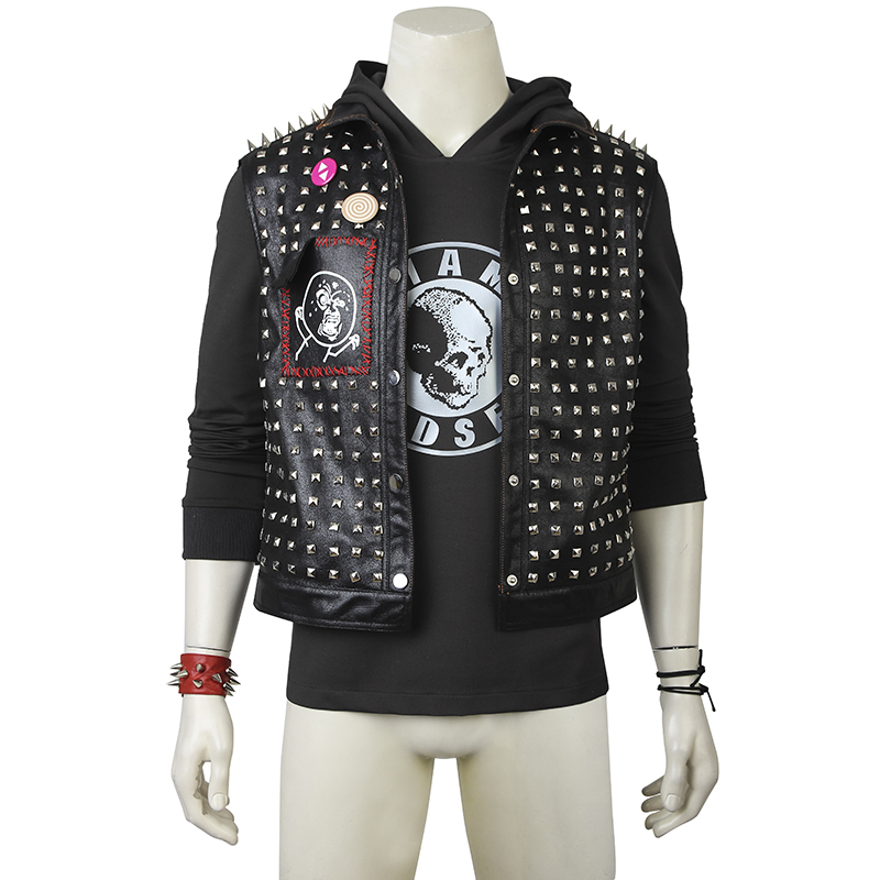 <font><b>Watch</b></font> <font><b>Dogs</b></font> <font><b>2</b></font> Cosplay Costumes <font><b>Wrench</b></font> Dedsec Cosplay Costume Outfit Jacket Suit Coat Halloween Party Custom Made Adult With <font><b>Mask</b></font> image