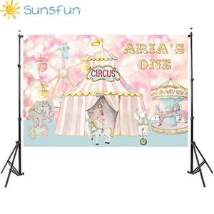Image 5 - Sunsfun写真スタジオ資金サーカス誕生日ピンクパーティー動物カルーセル観覧車背景photocallプロ
