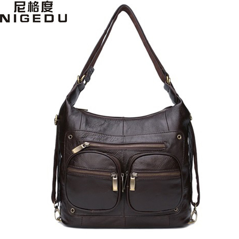 NIGEDU Brand Genuine Leather Women shoulder bag luxury designer ladies cowhide handbag coffee Crossbody Bags bolsa feminina Tote