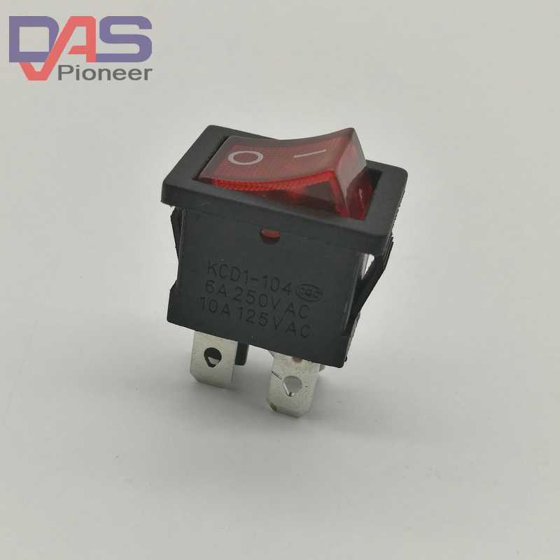 Rocker Switch KCD1-104 4 Pin <font><b>6A</b></font> <font><b>250V</b></font> 10A125VRed Button With Light On - Off Rocker Power Switches image
