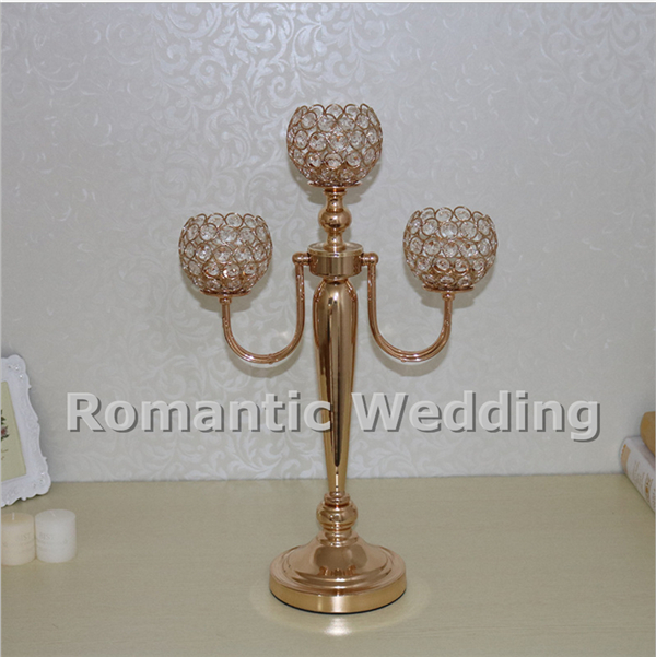 Free shipment 10PCSlots 3 arms crystal metal gold candlestick for Wedding decorations event products party decorations
