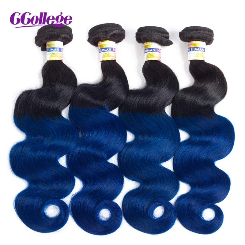 CCollege Brazilian Body Wave 3 4 Bundles Ombre Human Hair Weave Two Tone Black Blue Color