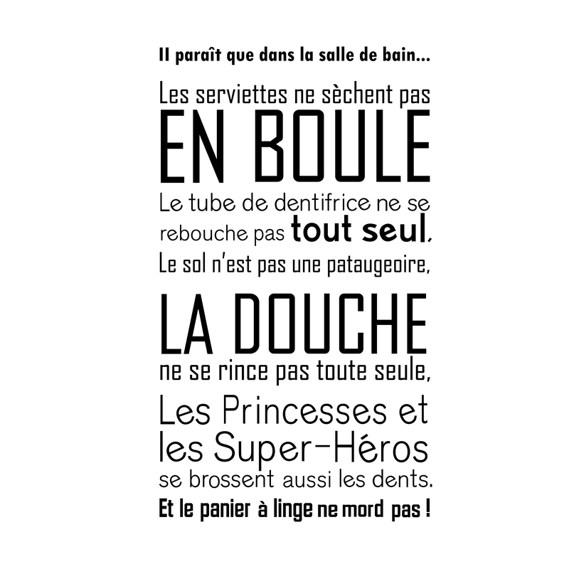 Salle de bain Vinyl Wall Sticker French Quotes Bathroom Wall Decals