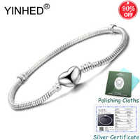 90% OFF! YINHED High Quality 16-23cm Original Solid S925 Silver Snake Chain Bangle Bracelet for Women DIY Jewelry Making ZB034