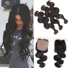 Cheap 8a Grade Virgin Unprocessed Human Hair ZhiMei Hair Peruvian Body Wave 4 Bundles Peruvian Silk Base Closure With Bundles