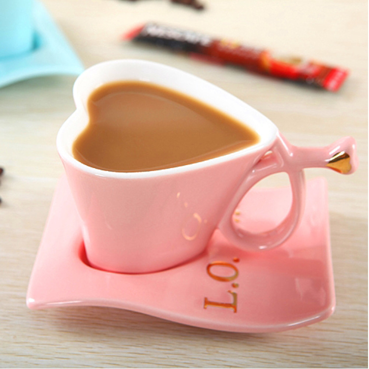 Creative heart shaped ceramic Coffee Mug cup and saucer Tea cup Sets for Gift 400ml