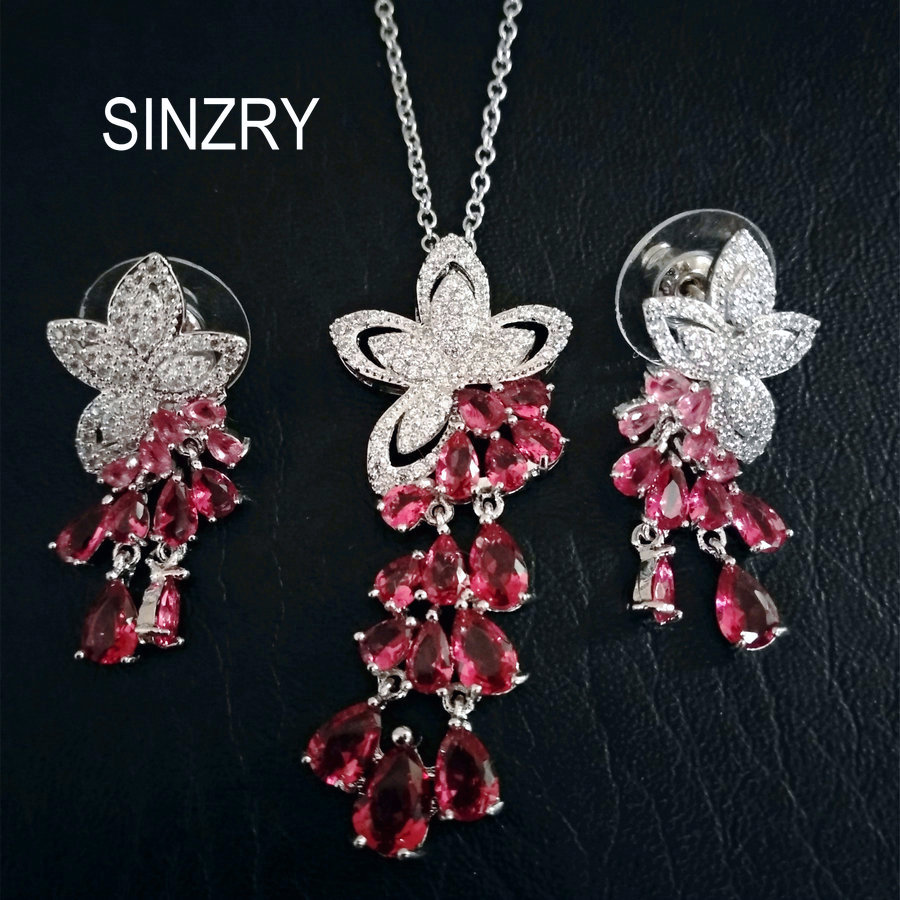 SINZRY Hotsale 2017 white Cubic zircon flower tassel choker pendant necklace earring jewelry set Korean jewelery flower geometric bar choker necklace set
