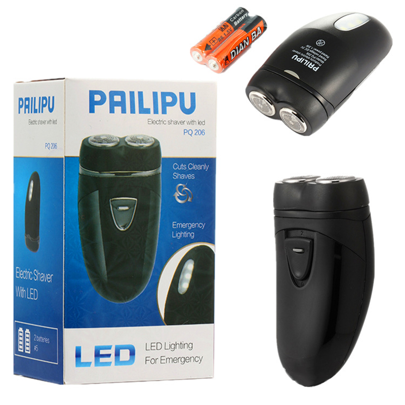 Electric Shaver Rotary Type Two Cutter Head Portable Wear Two Sections Number Five Batteries EVA Electric Shaver in Electric Shavers from Home Appliances