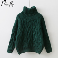 PEONFLY Women Turtleneck Sweaters Pull Jumpers European Casual Twist Warm Sweaters Female Oversized Sweater Autumn Winter