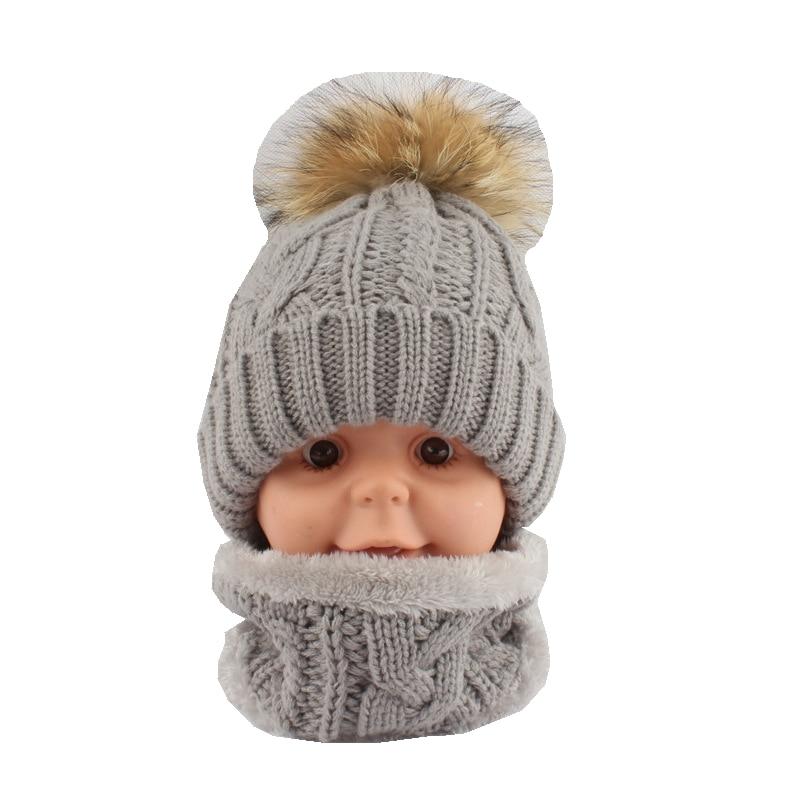 Accessoires Diszipliniert Kinder Dicken Acryl Neck Ringe Und Mützen Hüte Sets Kind Echte 15 Cm Waschbären Pelz Pom Pom Lf5156