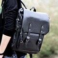 PU Leather Rucksack Men's Backpack Black For 15 Inch Laptop Multi Interlayer Pocket Day Pack Large Travel Bag